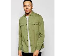 Military Hemdjacke mit Fischgrätenmuster, reguläre Passform Grün