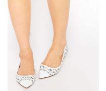 Hunnee Weiße, flache Schuhe mit Blumen-Lochmuster Weiß