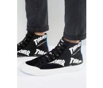 x Thrasher Hohe Sneaker mit durchgehendem Logodruck Schwarz
