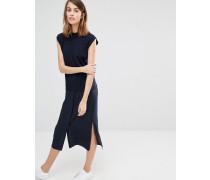 Hybrid Hemdkleid aus gemischtem Gewebe Marineblau