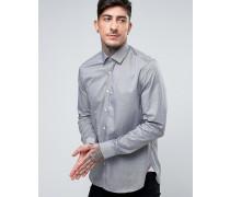 Schmales Shirt mit Mikro-Hahnentrittmuster Schwarz