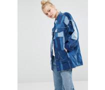 Oversize-Jeansjacke mit Patchwork-Design Blau
