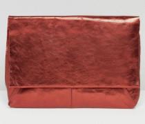 Lederclutch aus Metallic mit Umschlag Rot