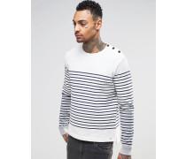 T-Venera Weißes Sweatshirt mit Rundhalsausschnitt und Breton-Baumwoll-Gestrick Weiß
