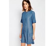 Hemdblusenkleid mit Grandadkragen und kurzen Ärmeln Blau