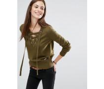 Pullover mit Schnürung und V-Ausschnitt Grün
