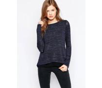 Langärmliges, grau meliertes Shirt Marineblau