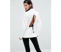 Blazer mit Rückenausschnitt und Bandverzierung Weiß