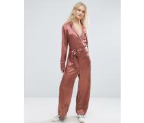 Satinoverall im Pyjama-Look Gold