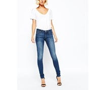 Saturday Enge Jeans mit tiefem Bund Blau