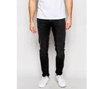 Friday Enge Jeans in schwarzer Acid-Waschung Schwarz