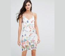 Spitzen-Trägerkleid mit Blumenmuster Mehrfarbig