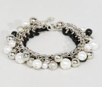 Armband mit Scheibe und Perlen Silber