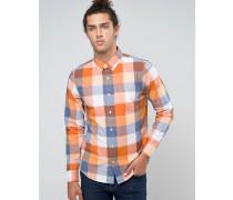 Schmal geschnittenes Strtch-Oxford-Hemd, orange und marineblau kariert mit Möwenlogo Marineblau