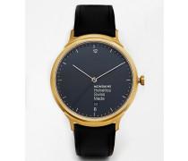 Helvetica Uhr mit Armband aus Leder Schwarz