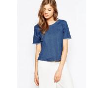 Jeanshemd mit Fransenausschnitt Blau
