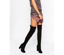 Overknee-Stiefel mit klobigem Absatz Schwarz