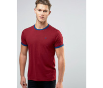 Schmal geschnittenes Ringer-T-Shirt Rot