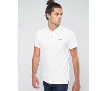 Schmales Pikee-Polohemd mit Seemöwen-Logo in Weiß Weiß