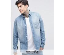 Brooklyn Supply Co Mittelverwaschenes Hemd in Distressed-Optik mit Rissen Blau