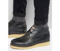 Chukka-Stiefel aus schwarzem Leder Schwarz