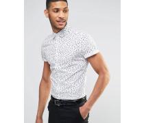 Eng geschnittenes Hemd mit Tränen-Print Weiß