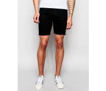 Schwarze Jeansshorts mit abgeschnittenen Kanten Schwarz