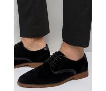 Schwarze Schnürschuhe in Wildlederoptik mit kontrastierenden Details Schwarz