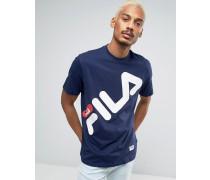 Fila T-Shirt mit großem, diagonalem Logo in Schwarz Marineblau