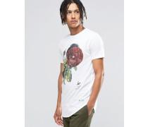 Gesprenkeltes T-Shirt mit Rosenmuster Weiß