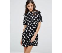 Bedelia Babydoll-Kleid mit klassischem Blümchenmuster Schwarz