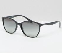 Katzenaugensonnenbrille in Schwarz Schwarz
