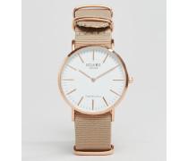 Armbanduhr mit Band aus beigem Leinen Beige