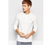 Jack Willis Langärmliges Henley-T-Shirt in Weiß, exklusiv Weiß