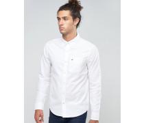 Weißes Oxford-Hemd in regulärer, klassischer Passform mit Knopfleiste und Möwenlogo Weiß