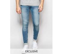 Lunar Superenge Jeans in schwarzer Vintage-Waschung Blau