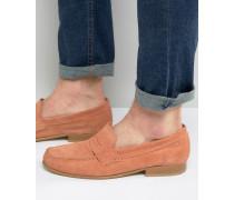 College-Schuhe aus Wildleder in Korallenrot mit Sohle aus Naturmaterial Rosa