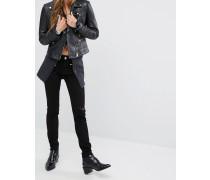 Jessica Alba X DL No.3 Instasculpt Skinny-Jeans mit Reißverschluss-Details Schwarz