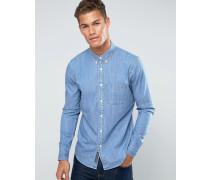Blaues Jeanshemd mit Destroyed-Knopfleiste Blau
