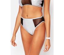 Bikinihose mit hohem Beinausschnitt Silber