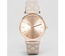 Armbanduhr mit gestepptem Design Steingrau