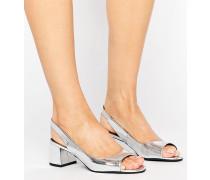 Slingback-Schuhe mit Blockabsatz in Metallic-Optik Silber