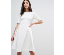 Plissiertes Skaterkleid Weiß