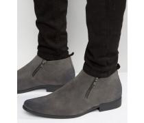 Graue Chelsea-Stiefel mit Reißverschluss Grau
