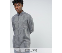 Hid Lang geschnittenes Flanellhemd mit grauem Karomuster Grau