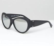 Sonnenbrille mit verspiegelten Gläsern Schwarz