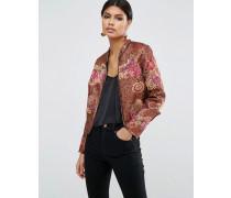 Premium Jacke mit Paillettenverzierung und Blumenmuster Mehrfarbig