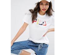 Lässiges T-Shirt mit mehrfarbigem Logo aus Netzstoff Weiß