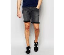 Enge Jeansshorts mit Umschlag Grau