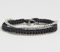 Ketten- und Webarmbänder im Set Silber